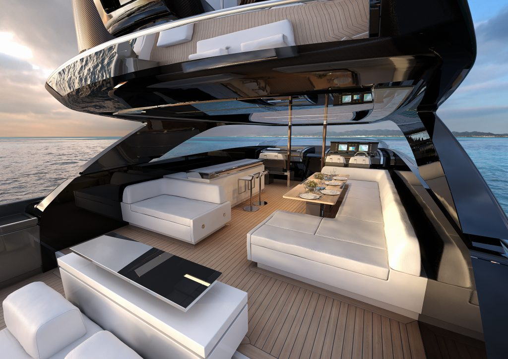 Riva 110'sun deck area