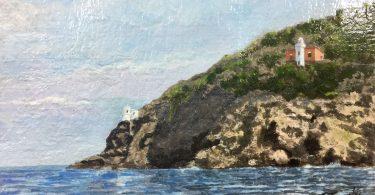 I Fari di Punta Lividonia a Porto Santro Stefano in un dipinto di Giuseppe Trombì