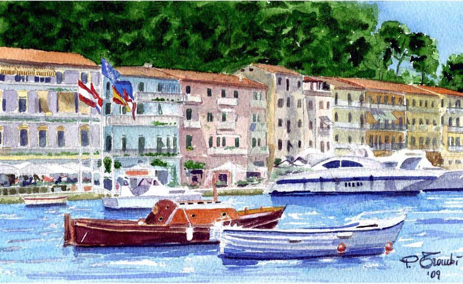 Il molo della Pilarella a Porto Santo Stefano in un quadro di Giuseppe Trmpbì