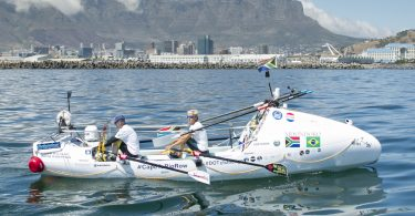 Wayne Robertson (l) and Braam Malherbe (r), both from Cape Town, set off from Cape Town at 10h30 on Tuesday 7th Feb rowing to Rio to raise funds for the DOT Challenge.