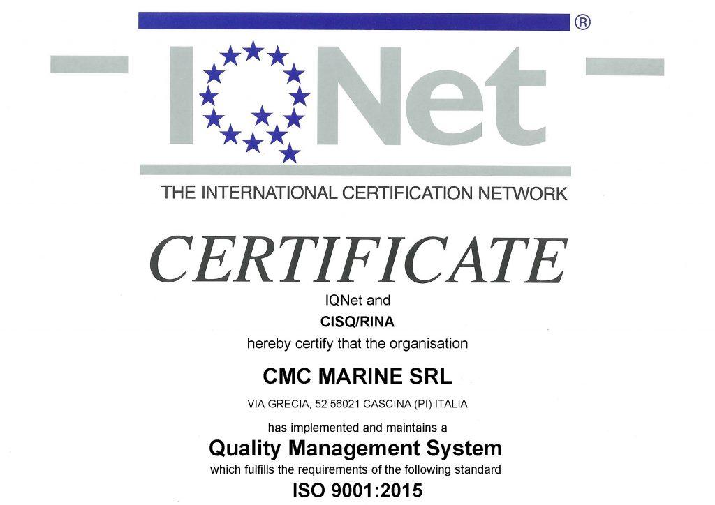 Certificato RINA - CMC ISO 9001 - IQNet