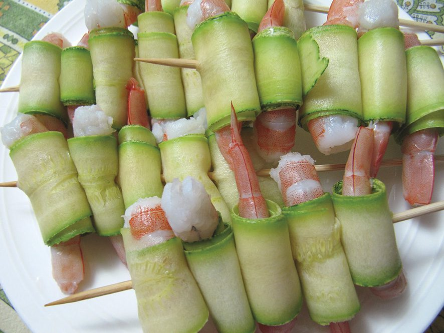 spiedini-gamberi e zucchine